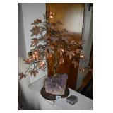 PURPLE AMETHYST BASE & COPPER LEAF W/ METAL TREE