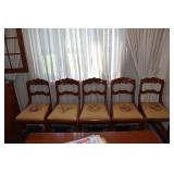 CHERRY ROSE CARVED BACK CHAIRS NEEDLE POINT SEATS
