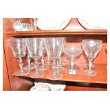 ETCHED CRYSTAL GLASSES, CHAMPAGNE, WATER GLASSES,