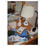 MILK GLASS LAMP, HEART COVERED BOX, RING HOLDER,