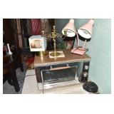 TOASTER OVEN, SMALL LAMPS , CANDLE HOLDER