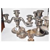STERLING WEIGHTED BASE 3 ARM CANDLE STICKS