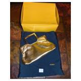 FENDI GOLD METALLIC CLUTCH PURSE WITH CARRY CASE