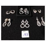 SIX PAIR OF EARRINGS SILVER TONE METAL AND