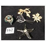 FIVE PIN BROOCHES LEAF, STARFISH, BOW W