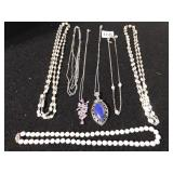 SEVEN COSTUME JEWELRY NECKLACES, PINK