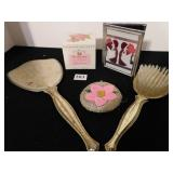 MIRROR AND BRUSH DRESSER SET, BEADED COIN PURSE,