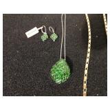 GREEN RHINESTONE PENDANT NECKLACE AND EARRING
