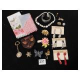 RHINESTONE EARRINGS ON CARDS, ASSORTED PINS,