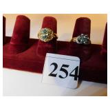 TWO LADIES 14K GOLD COSTUME JEWELRY RINGS LIGHT