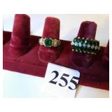 TWO LADIES 14K GOLD COSTUME JEWELRY RINGS GREEN