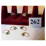 TWO 10K GOLD BLUE STONE RINGS WITH 2 PR MATCHING