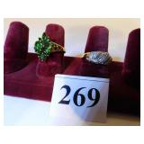 TWO 14K GOLD LADIES COSTUME JEWELRY RINGS GREEN