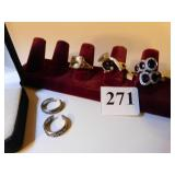 THREE LADIES COSTUME JEWELRY RINGS AND TWO RING