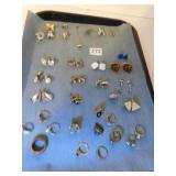 ASSORTMENT OF COSTUME JEWELRY PINS, EARRINGS, AND