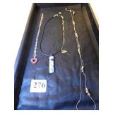 FOUR NECKLACES, SILVER WITH RED RHINESTONE HEART