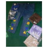SIZE 20W JEANS WITH EMBELLISHMENTS, 1X VARIOUS