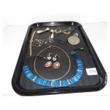 LADIES WATCH, BOLD NECKLACE AND FANCY EARRINGS