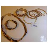 BRAIDED 3 METAL BRACELET AND NECKLACE, ASSORTED