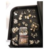LARGE GROUP OF PIERCED AND CLIP ON EARRINGS