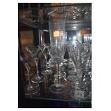 6 WINE GLASSES, 1 CHAMPAGNE 2 MANHATTAN GLASSES