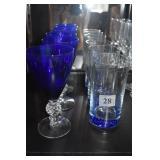 COBALT BASE 3 WATER GLASSES, 3 COBALT WATER
