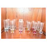 12 SHOOTERS MULTI COLOR GLASS BASES & DECANTER