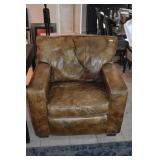LEATHER DISTRESSED FINISH ARMCHAIR - RECLINERS