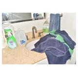 GROUP OF TOWELS, BLUE GREEN, AND DISTILLED WATER,