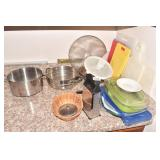 GRATER, STRAINER, CUTTING BOARDS, SPATTER SCREEN