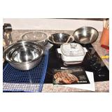 CORNING, STAINLESS-STEEL BOWLS