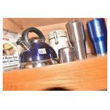 WHISTLING TEAPOT - 2 NEW THERMOS MUGS, PIE PANS,