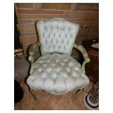 VINTAGE GREEN CHAIR TUFTED SEAT AND BACK GREAT