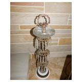 VINTAGE ASH TRAY STAND WITH CRYSTAL PRISMS MARBLE