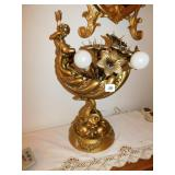 UNIQUE LAMP WITH FISH BASE GOLD TRIM, VERY HEAVY,