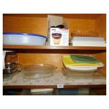 ASSORTED CONTAINERS, PYREX CASSEROLE, ETC.