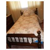 TWIN SIZE BED WITH BOX SPRING MATTRESS AND