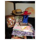 STRAW HAT, TIN BOX, ETC.