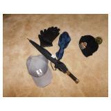LEATHER GLOVES, PIRATES HAT, UMBRELLAS, BALL CAP