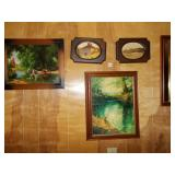 GROUP OF PAINTINGS/ PHOTOS INCLUDING CARRIAGE,