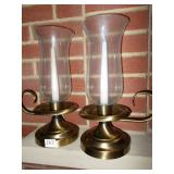 PAIR OF CANDLE HOLDERS WITH HURRICANE GLASS