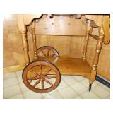 WOODEN ROLLING CART WITH DROP DOWN SIDES