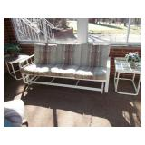 WHITE PATIO ROCKING COUCH WITH MATCHING PAIR OF
