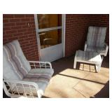 PAIR OF PATIO ROCKERS WITH OTTOMAN