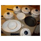 DECORATED POTS AND PANS, CASSEROLE DISH, BOWLS