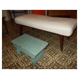 SMALL LEATHER BENCH 15H HAND PAINTED WOODEN STEP