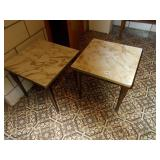 TWO SMALL MARBLE DESIGNED TABLES 15H