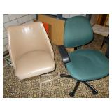 TAN LEATHER OFFICE CHAIR, GREEN CLOTH OFFICE
