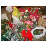 LIGHTED GARLAND, TONS OF ARTIFICIAL FLOWERS AND