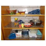 PLASTIC CONTAINER, WICKER BASKETS, GLASS PITCHER,
